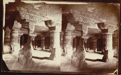 Interior of Buddhist vihara, Cave XXI, Ajanta